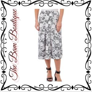 Floral Puff Paint Midi Skirt